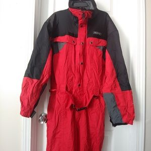 Roffe Mens Red Black Hooded Ski Snow Suit XL